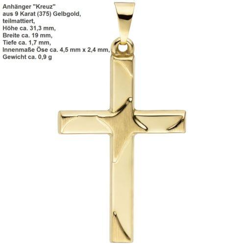 Kreuz Anhänger echt Gold 585 333 375 14 9 8 Karat Weißgold Gelbgold Jesus unisex
