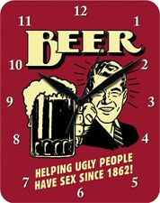 BEER HELPING UGLY PEOPLE HAVE SEX SINCE 1864 - Blechuhr Wanduhr Uhr Clock 78