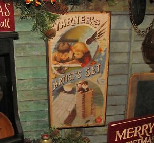 Primitive-Antique-Vtg-Style-Christmas-Santa-Artist-Set-Box-Sign-Shelf-Wall-Art