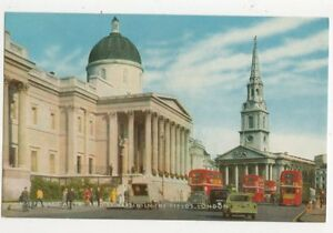 National-Gallery-amp-St-Martin-In-The-Fields-London-Old-Postcard-385a