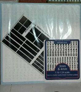 G-LGB-1-24-amp-1-18-Escala-Blanco-Clasico-Negro-Kit-de-modelismo-Placas-matricula