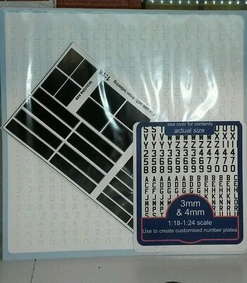 G LGB 1:24 /& 1:18 Scale Classic Silver /&  Black Model Kit Number Plates Decal