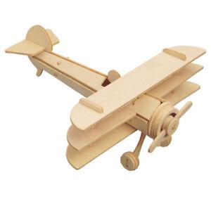 Doppeldecker Typ 3 Holzbausatz Flugzeug Flieger Bi-Plane Holz Steck Puzzle Bauen Puzzles & Geduldspiele