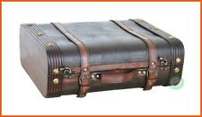 Decorative Vintage Trunk Retro Storage Suitcases Leather Antique Decor Luggage