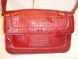Image Is Loading Tusk Burgundy Snake Print Leather Crossbody Handbag Purse