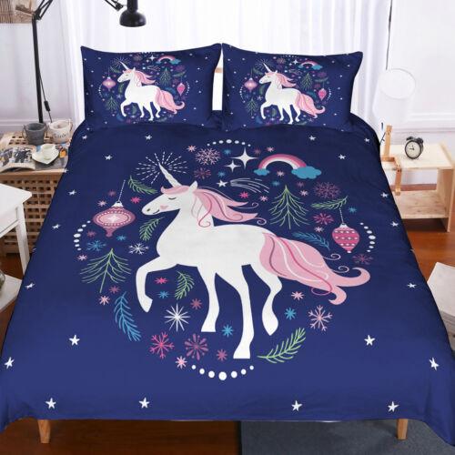 3D Kids Unicorn Bedding Set Duvet Cover Comforter Cover Pillow Case Dark Blue