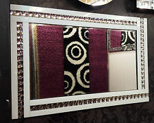 NEW Modern Art Deco Acrylic Crystal Glass Design Bevelled Mirror 120x80cm White