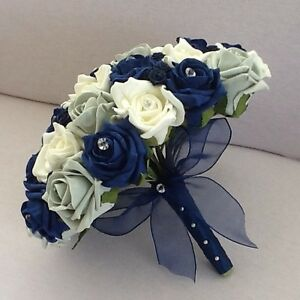 Image Is Loading Wedding Flowers Artificial Ivory Navy Silver Foam Rose