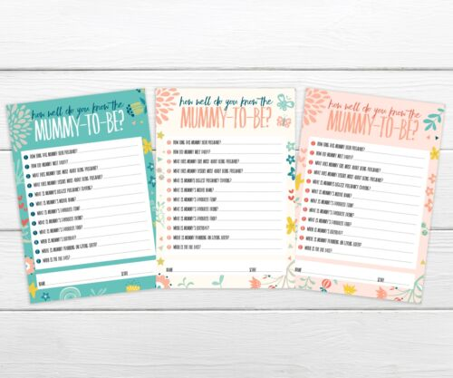 10 quiz sheets BABY SHOWER PARTY GAME How well do you know the mummy to be?