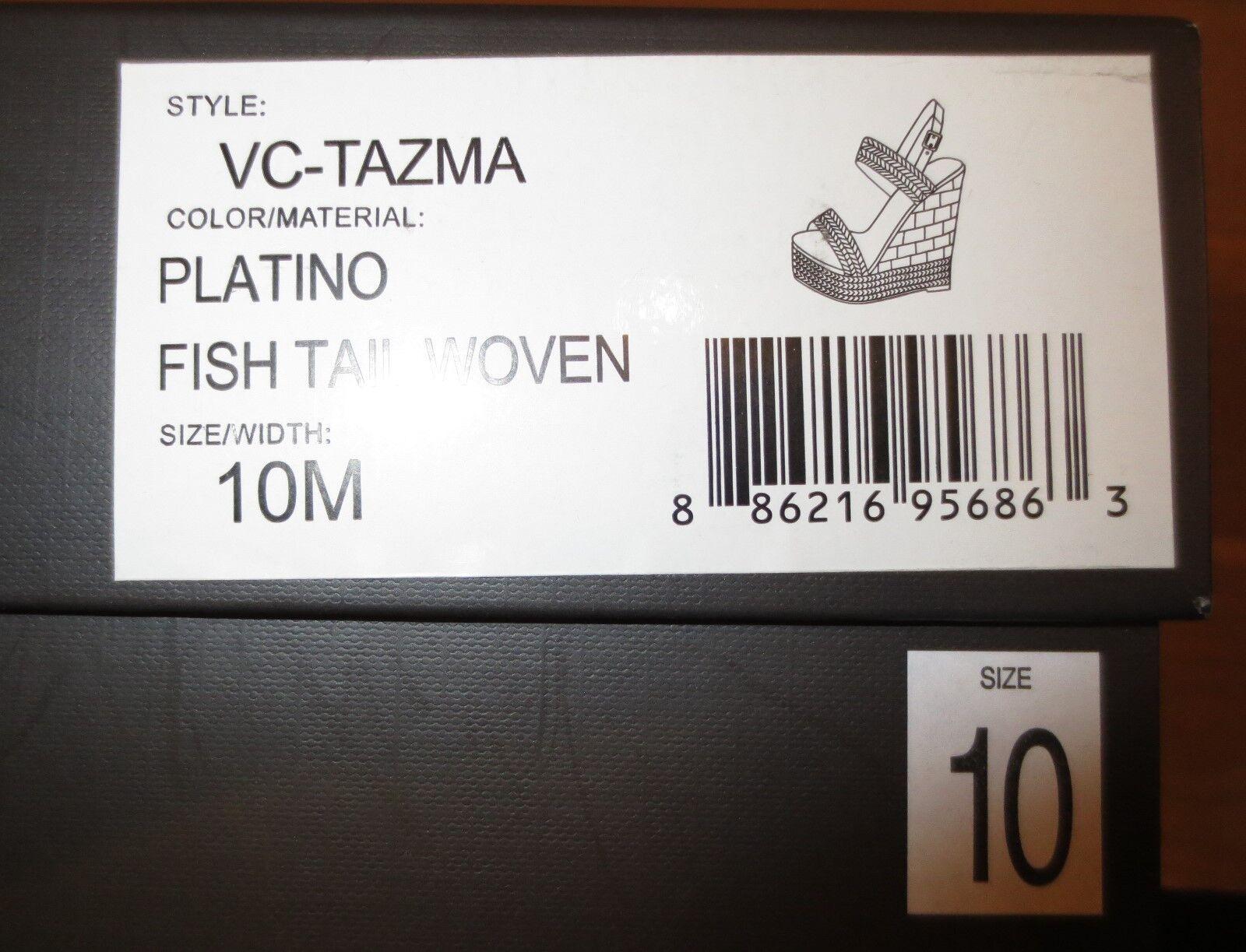 Platform Schuhes Woman Vince Camuto 10 B,EUR 40 NIB NIB NIB Leder Platino Gold Fishbone 4c0855