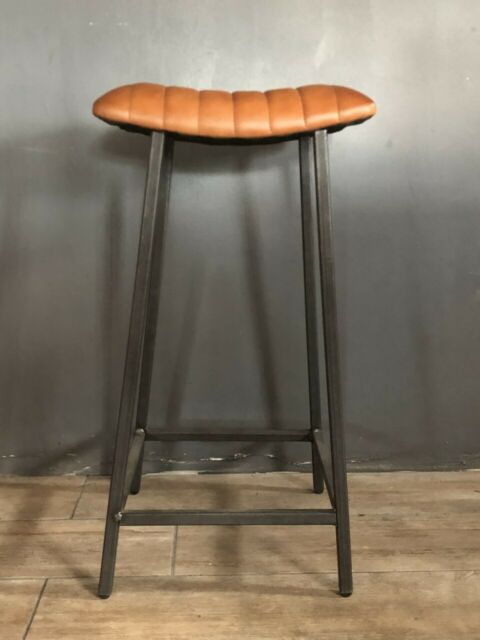 Phenomenal Brown Tan Leather Bar Stool Industrial Leather Stool Kitchen Stool Curved Seat Gmtry Best Dining Table And Chair Ideas Images Gmtryco