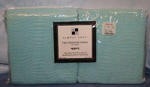 New-Simply-Soft-2-Standard-Pillow-Shams-Wave-Sea-Foam-Quilted-Cotton-Chic