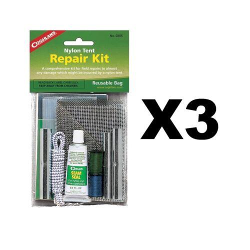 3-pack Coghlan/'s Nylon Tente Réparation Kit Avec 3x Embouts couture Seal Patches