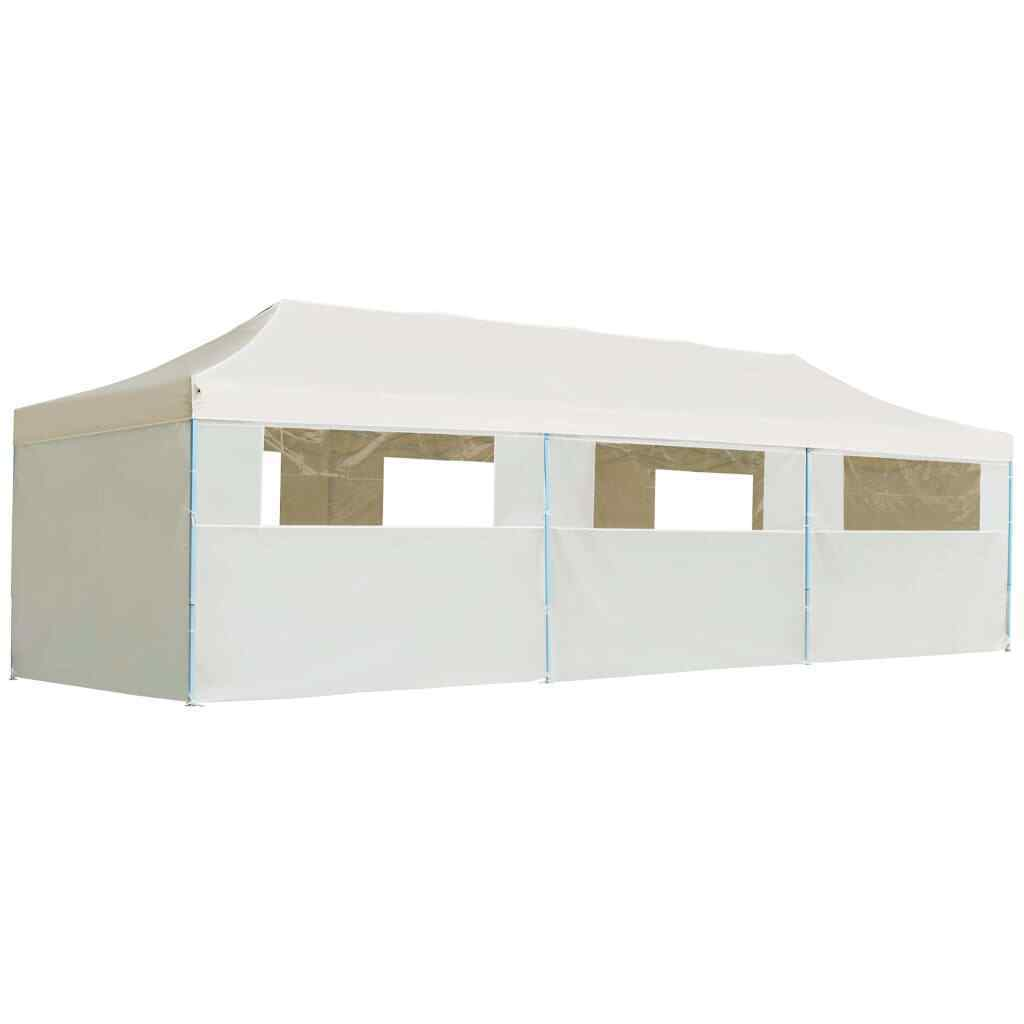 VidaXL Folding Pop-up Party Tent with 8 Sidewalls 3x9m Cream Canopy Gazebo