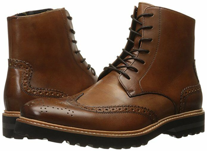 Kenneth Cole Men's Click Sound Wingtip Boots Cognac Leather 9 NEW IN BOX