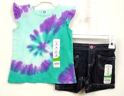 Girls Summer Outfit Tie Dye Top/Denim Shorts Sz 18 months Jumping Beans NWT