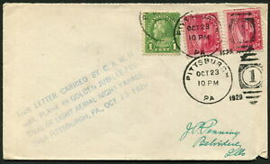 USA - 1929 'AERIAL NIGHT PARADE' OVER PITTSBURGH Cover with Cachet  GU [9882]