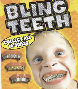 Image is loading BLING-GRILL-GRILLZ-FAKE-TEETH-GOLD-SILVER-HIP- e4f438ba0b77