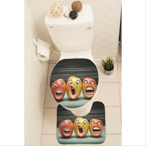 Funny Apple Set of 3 Bathroom Rug Set Mat Toilet Lid Cover y70 y0185
