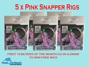 5-Surf-Fishing-Rigs-Pink-Paternoster-60lb-5-0-Circle-Hooks-Snapper-Flathead