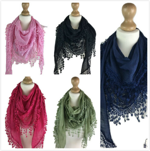 UK WOMEN LADIES MESH LACE Triangle EMBROIDERED HIGH QUALITY NECKERCHIEF SCARF