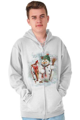 Frosty Snowman Christmas ShirtHoliday Santa Claus Reindeer Zip Hoodie