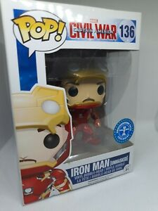 Marvel Funko Pop Iron Man Unmasked Civil War #136 Tony Stark Underground Toys Ex