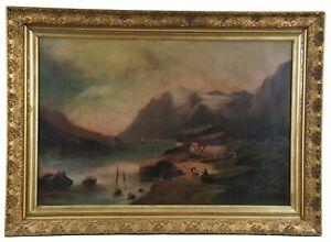 European-19th-Century-Antique-Riverside-Landscape-Oil-on-Canvas-Cottage-Figures