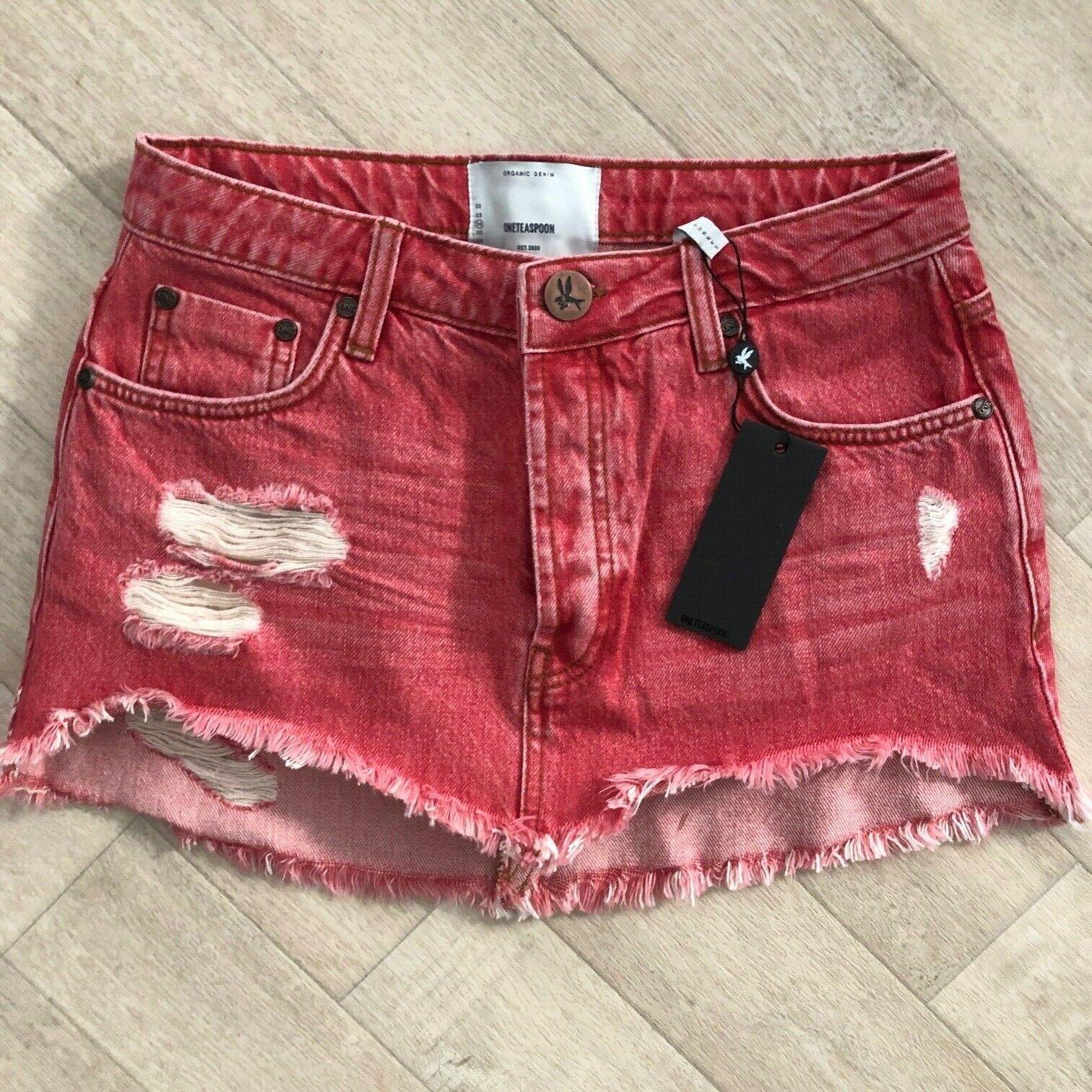 One Teaspoon JUNKYARD Mini Skirt rot Organic Jeans 23 24 25 26 27 28 29 30 Low