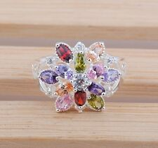 Women fashion jewelry  925 silver Multicolor zircon wedding ring size12 S13-12
