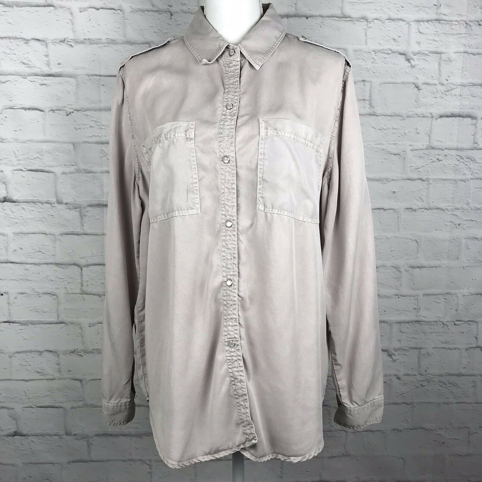 c88783d4f4742 Holding Horses Anthropologie Women Pink M Pearl Snap Button Long Top Down  Sleeve nzhnej500-Tops