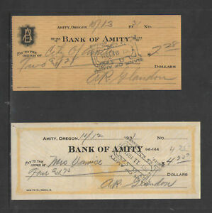 1929-1931-BANK-OF-AMITY-OREGON-8-DIFFERENT-ANTIQUE-CHECKS-BANK-HISTORY