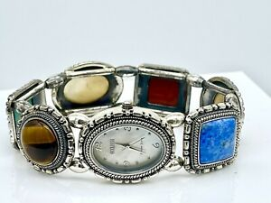 Ecclissi Sterling Silver Southwestern Multi-Gemstone Concho Stretch Band Watch