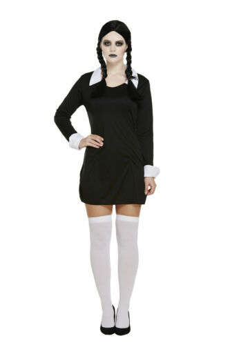 HALLOWEEN SCARY DAUGHTER OUTFIT FANCY DRESS FAMILY COSTUME WEDNESDAY ADAMS