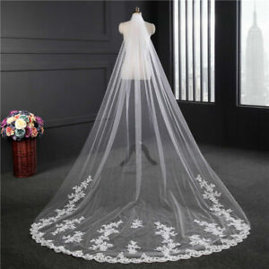 2 Layer White//Ivory Bridal Wedding Veil Sequins Lace Applique Edge With Comb