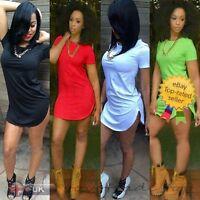 New Sexy Women Tops Short Sleeve Side Slit Long Shirt Mini Party Dress Plus Size
