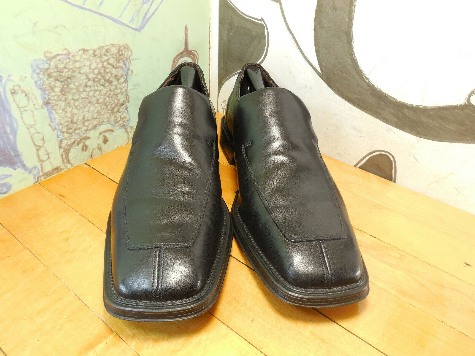 Kenneth Cole Reaction Black Leather Loafers Men's 11.5M