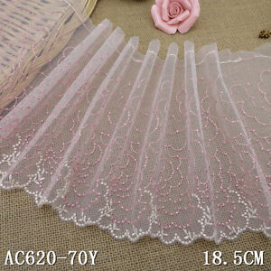 1-Yard-Pretty-Delicate-Embroidered-Scalloped-Pink-Tulle-Lace-Trim-7-1-2-034-Wide