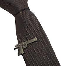 Mens Skinny Tie Clip Bar - Black Desert Eagle Gun - 4CM Wedding Clasp Pin