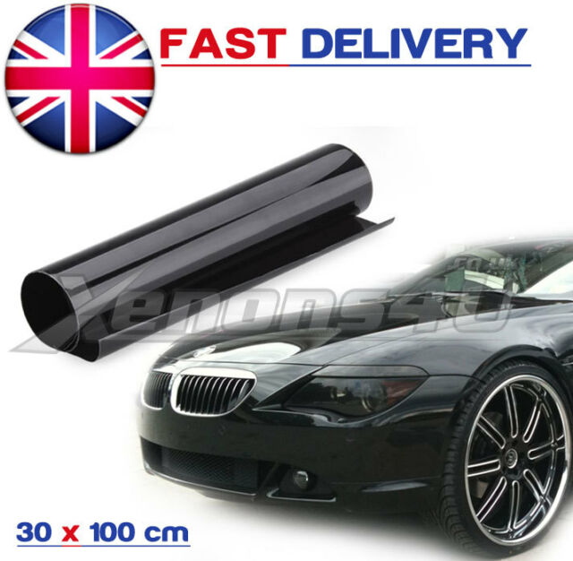 300mm x 1000mm SMOKED DARK HEADLIGHT TAIL REAR FOG LIGHT TINTING FILM WRAP #65