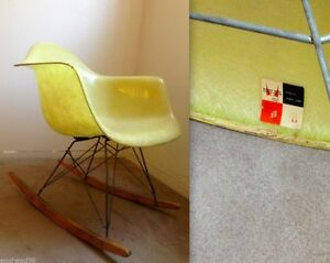 Image Is Loading EAMES ROPE EDGE LEMON YELLOW Rocking Chair Vintage