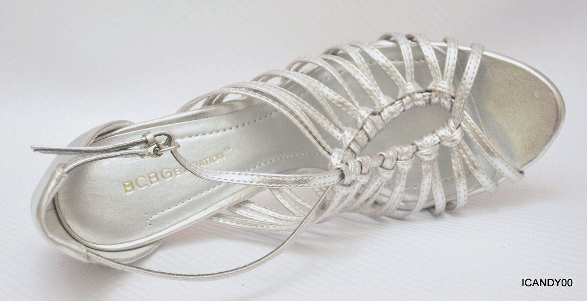 New BCBG Generation PEETIE Strappy Sandal Pump Peep Peep Peep Toe Silver 8.5 38.5 a1568c