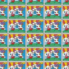 Peter Max's Cosmic Jumper 43 Years Old Vintage Mint Sheet of 40 Stamps !