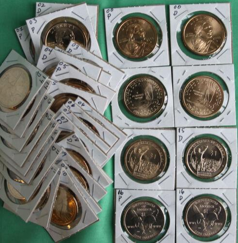 2000 thru 2018 SACAGAWEA Dollar Native American 38 Coin P and D $1 Lot UNC