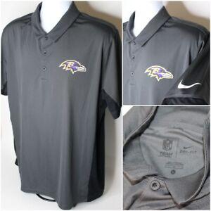 Mens-NIKE-Dri-Fit-Short-Sleeve-Baltimore-Ravens-Polo-Shirt-Gray-NFL-Size-L