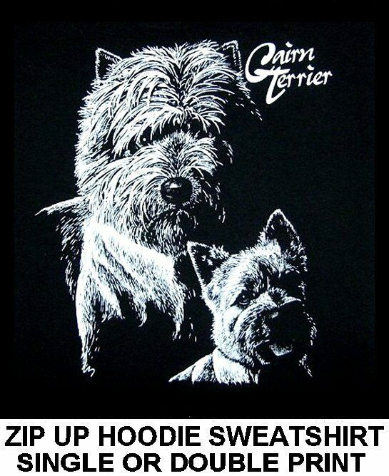 GORGEOUS CAIRN TERRIER DOG ART ON A ZIP HOODIE SWEATSHIRT 735