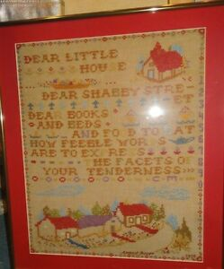 """1929 SAMPLER-WITH HOUSE-CHURCH-TREES.VERY COLORFUL & WELL DONE. NEAR 20"""" TALL BY"""