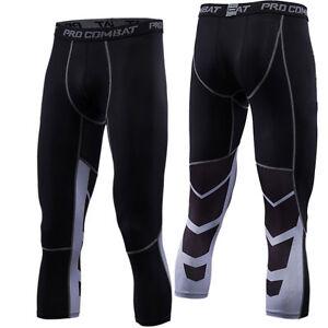 Mens-Sports-Compression-3-4-Pants-Workout-Jogging-Running-Basketball-Football