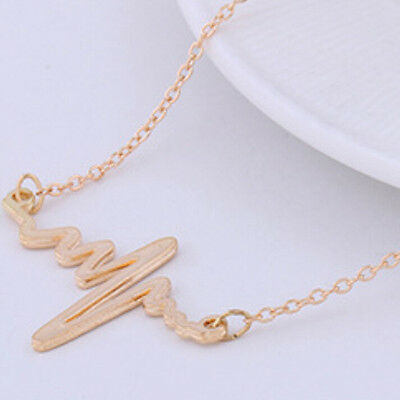 Fashion EKG Heart Beat Necklace Simple Short Paragraph Chain Women Jewelry ATUS