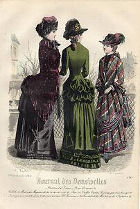 """115/ Gravure De Mode """" Journal Des Demoiselles """" 1882 Superbes Couleurs ! Distinctive Pour Ses PropriéTéS Traditionnelles"""